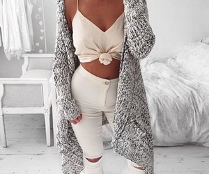 fashion, ripped jeans, and girl sweater image