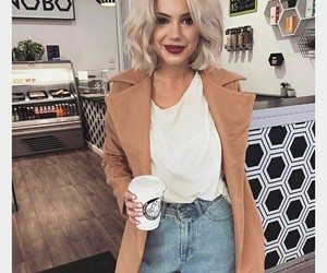 blonde, coffe, and hair image