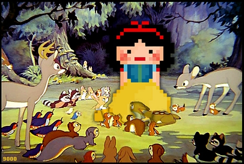 pixel, snow white, and 9000 image