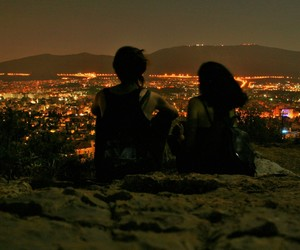 night, city, and couple image