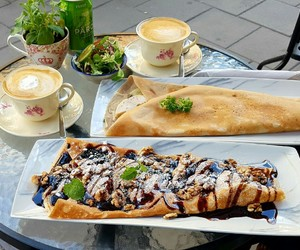 cappuccino, crepes, and egg image