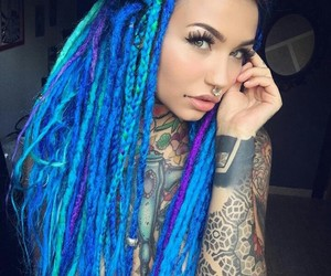 blue hair, girl, and Hot image