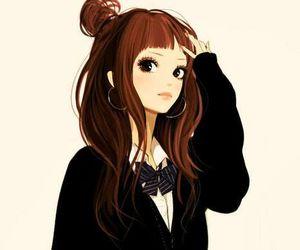anime girl with curly hair short curly hair