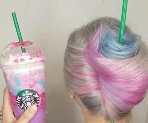 hair, starbucks, and unicorn image