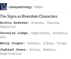 riverdale and zodiac signs image