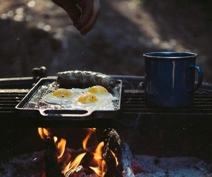 fire, food, and eggs image