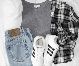 flannel, hat, and whiteshoes image