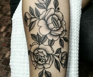 black ink, black work, and floral image