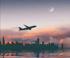 sky, airplane, and moon image