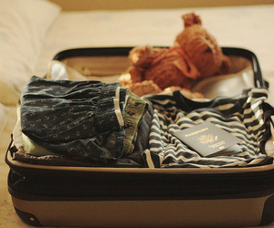 suitcase, clothes, and teddy image