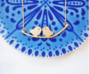 etsy, bird necklace gold, and necklace bird love image