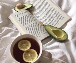 book, avocado, and tea image