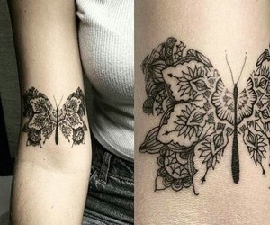 body art, tattoo, and butterfly image