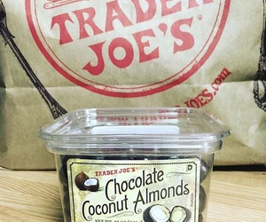 chocolate, trader joes, and coconut almonds image