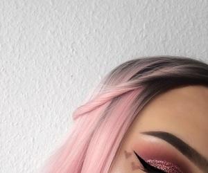 makeup, pink, and hair image