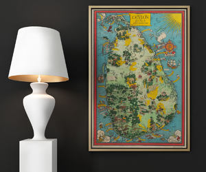 ceylon, etsy, and old map image
