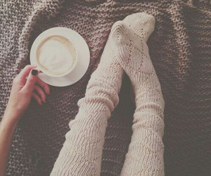 socks, coffee, and winter image