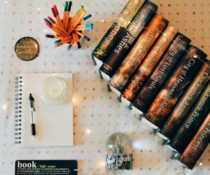 books, homework, and library image