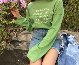 girl, fashion, and green image