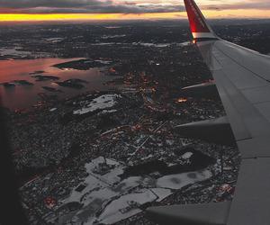 airplane, city, and sky image