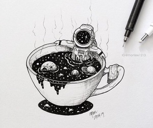 art, astronaut, and cup image