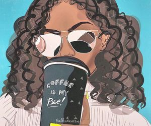 bae, coffee, and curly hair image