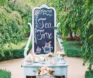 tea, flowers, and tea party image