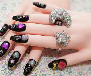 black nails, etsy, and Harajuku image