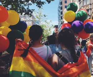 balloons, girls, and pride image