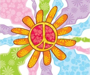 flowers, hippie, and peace and love image