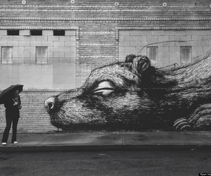 black and white, street art, and art image