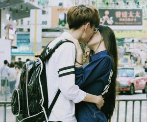 asian, couple, and kiss image