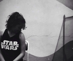 girl, star wars, and withe and black image