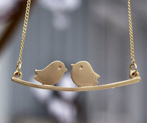 etsy, gold bird necklace, and love bird necklace image