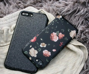 iphone, flowers, and black image