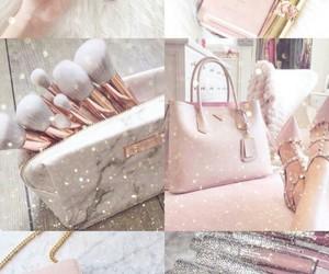 pink, makeup, and wallpaper image