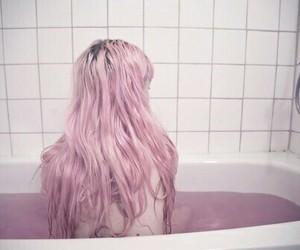 pink, hair, and bath image