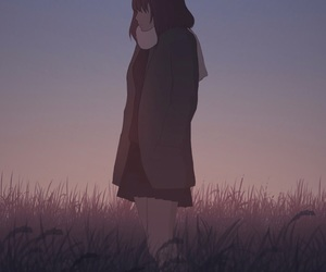 alone, girl, and sunset image
