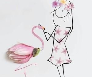 art, flamingo, and girl image