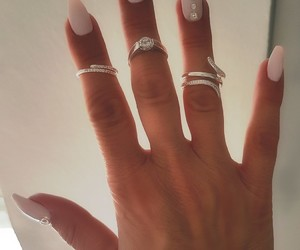 nails, pink, and silverring image