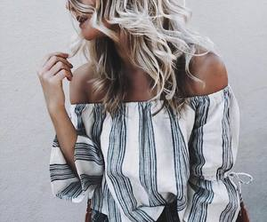 blouse, chic, and stripes image