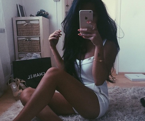 beauty, black hair, and chanel image