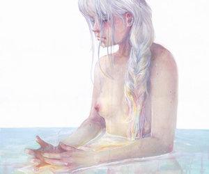 art, braid, and mermaid image