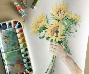 art, paint, and sunflower image