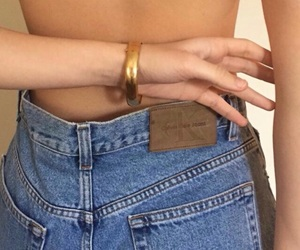 jeans, gold, and denim image