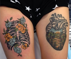 ink, rose, and skeleton image