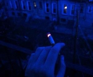 cigarette, blue, and grunge image
