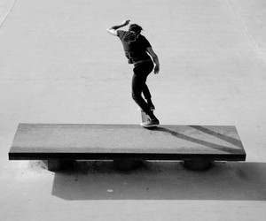 black and white, skate, and skater image