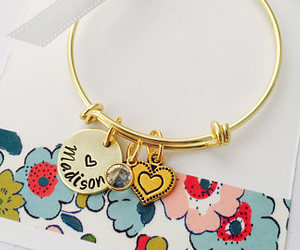 etsy, personalized name, and gold cross bracelet image
