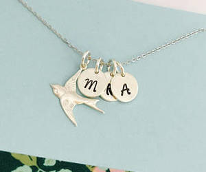 bird necklace, initial necklace, and mama bird image